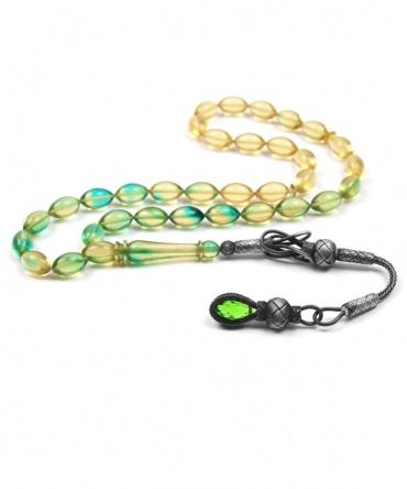 1000 Ayar Kazaz Gümüş Püsküllü Yeşil Süzme Renk Kehribar Tesbih 10300